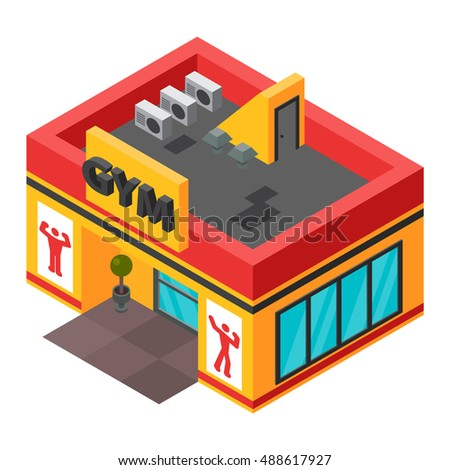 Vector gym fitness isometric building isolated