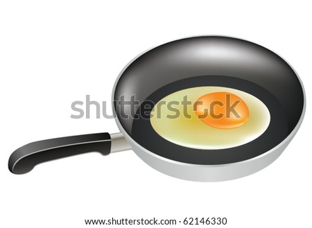 vector half-cooked egg in a frying pan