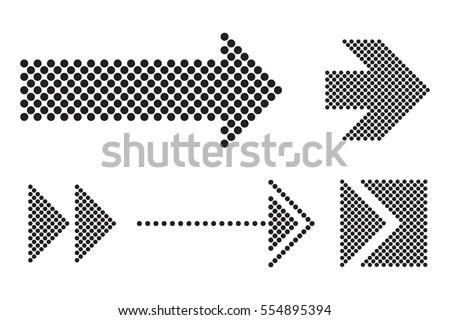 Vector halftone arrows.Dots arrow icon set.
