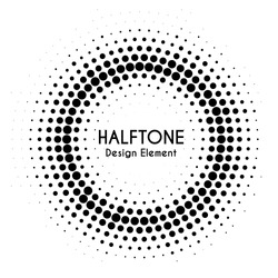 Vector halftone circle with text. Round dotted design element for banners. Halftone effect background