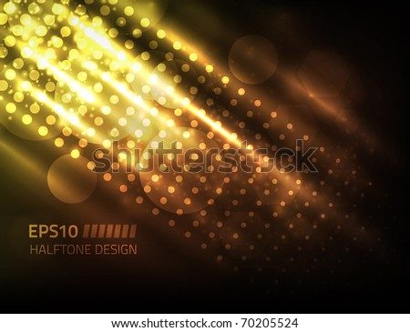 Vector halftone design against dark background, colored yellow and orange