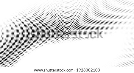 Vector halftone dots background. Black and white comic pattern. Radial gradient hexagon texture.