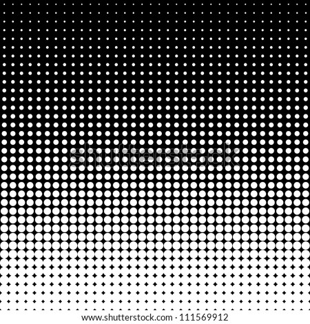 Vector halftone dots. White dots on black background.