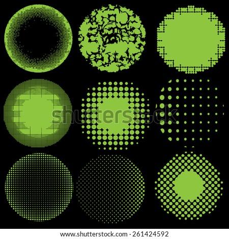 Vector halftone green dots illustration. Set background latex