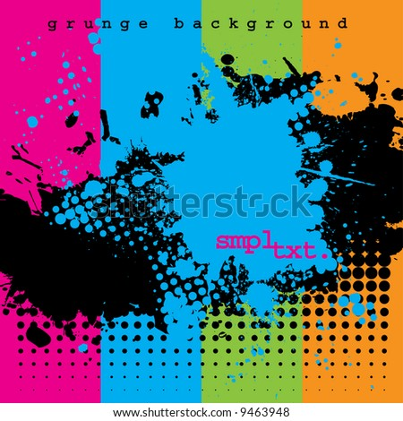 Stock Photo Vector - Halftone ink splat grunge background for text.