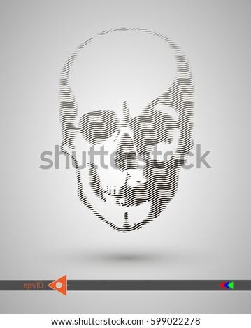 vector halftone skulls skull
