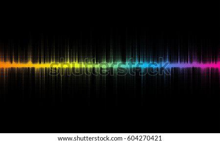 Vector halftone sound wave design.  Colorful design element, for musical backgrounds.