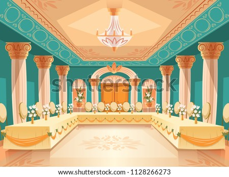 Vector hall for banquet, wedding. Interior of ballroom with tables, chairs for feast, celebration or royal reception. Big room with chandelier, columns, pillars in luxury medieval palace