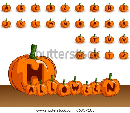 Vector Halloween alphabet on a white background