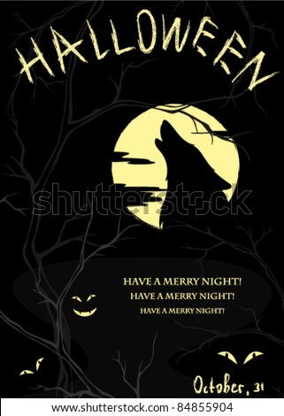 vector halloween background - spooky night landscape with creepy trees and howling wolf