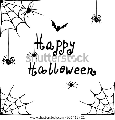 Vector Halloween background white and black with spiders hand drawn #306412721