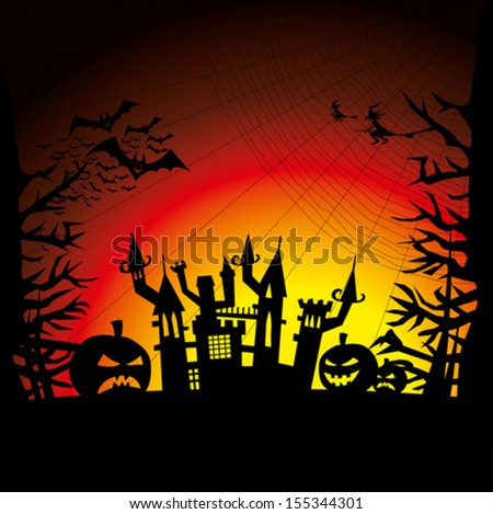 Vector Halloween background with pumpkin, bats and witch - Shutterstock ID 155344301