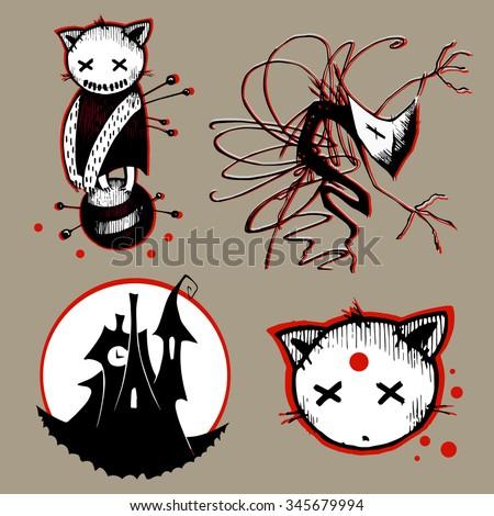 vector halloween black  white