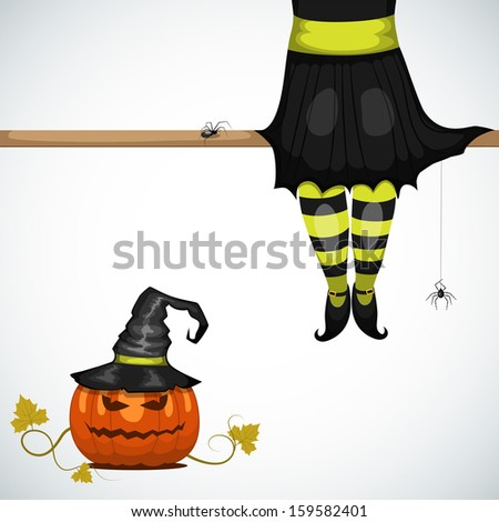 vector halloween card with witch