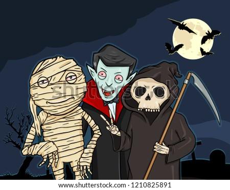 Vector Halloween Cartoon Postcard. Mummy, Vampire and Death on the Cemetery