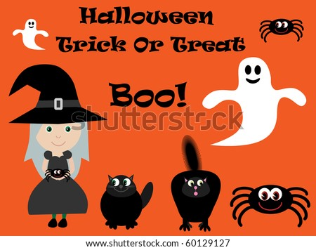 Vector Halloween characters - witch, spiders, ghosts & cats
