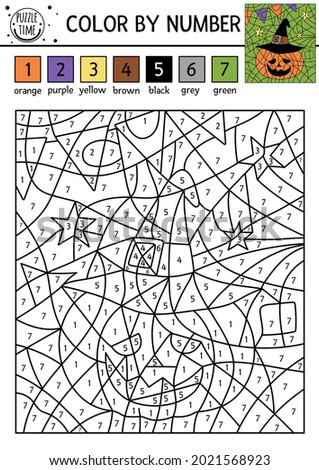 Vector Halloween color by number activity with cute pumpkin lantern in wizard hat. Autumn holiday coloring and counting game. Funny coloration page for kids with jack-o-lantern.   Foto stock ©