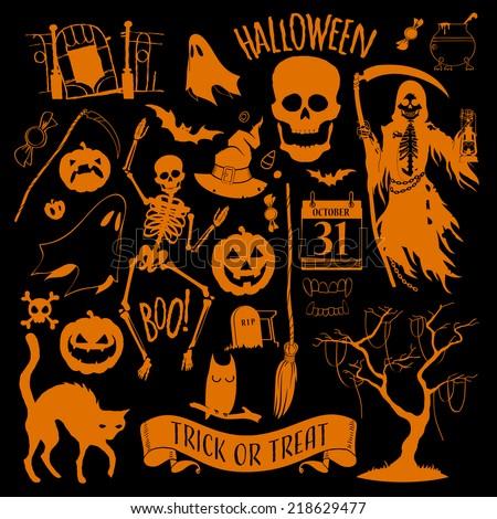 vector halloween decoration set
