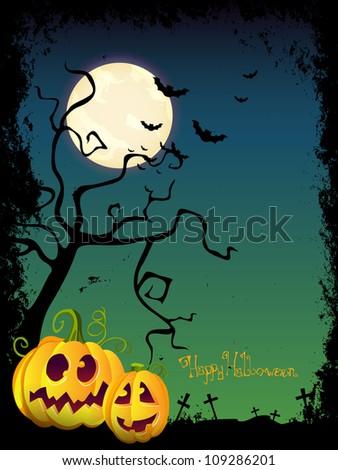 Vector Halloween Design with scary Halloween Pumpkins