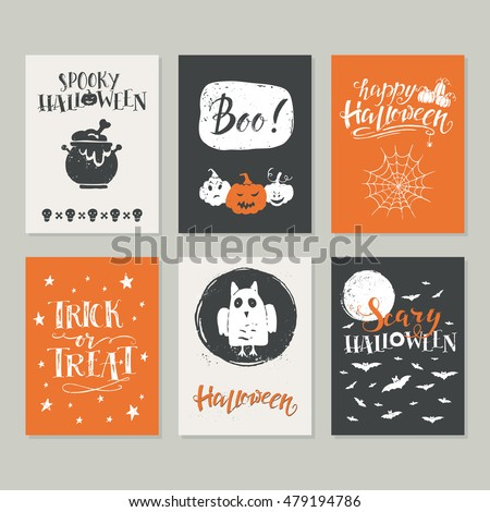 Vector Halloween greeting card, flyer, banner, poster templates. Hand drawn traditional symbols and handwritten lettering. Vector collection with pumpkins, owl, moon. Perfect for party invitation.