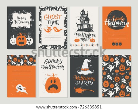 Vector Halloween greeting card, flyer, banner, poster templates. Hand drawn traditional symbols and handwritten lettering. Vector collection with pumpkins, ghost, moon. Perfect for party invitation.