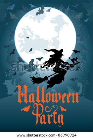vector / Halloween greeting card / witch / bat / cat