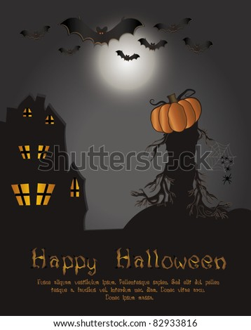 vector Halloween Happy card - bat pumpkin spider web house tree