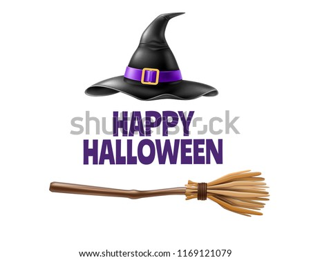 Vector halloween holiday poster with happy halloween inscription with realistic witch pointed hat, broom on isolated background. Autumn traditional trick or treat spooky event, scary and magic design ストックフォト ©