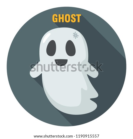 Vector Halloween icon good ghost. Illustration of a cute ghost in a flat style. Text: Ghost.