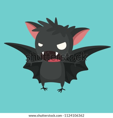 Vector Halloween icon with a picture of a bat. A vampire bat with open wings.