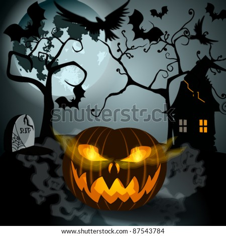 Vector Halloween illustration with full Moon, Jack O'Lantern, scary house, headstones and bats