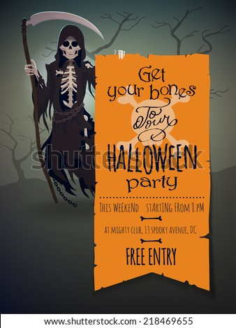 Vector Halloween Invitation Template Featuring Death Character