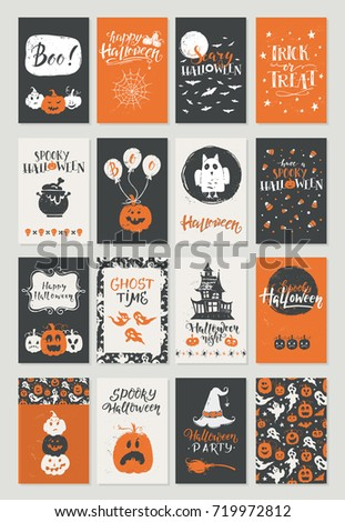 Vector Halloween mega set of greeting card, flyer poster templates. Hand drawn traditional symbols and lettering. Vector collection with pumpkins, owl, ghost, moon. Perfect for party invitation.