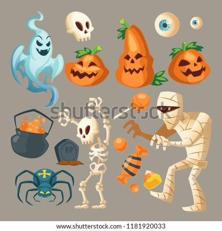 Vector Halloween objects - scary ghost, spooky mummy and dark spider. Cartoon skeletons, different pumpkins with sweet candies isolated on gray background. Cute elements for the October holiday.