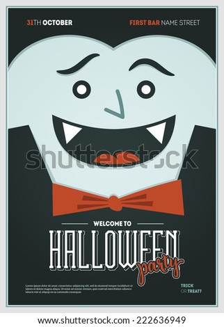 Vector Halloween Party Poster Dracula