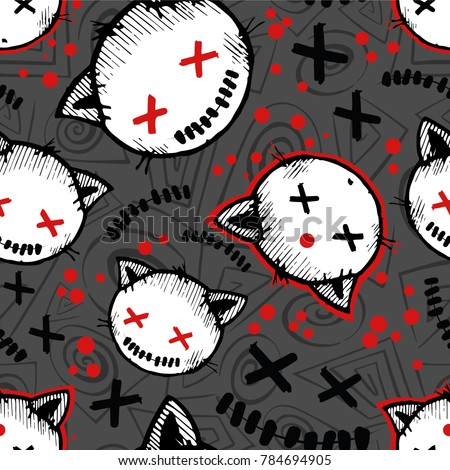 Vector halloween pattern with cat's heads and blood drops Seamless pattern can be used for wallpaper, pattern fills, web page background,surface textures.