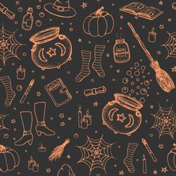 Vector Halloween pattern with hand drawn pumpkin, cauldron, spider web, potions, magic books, witch's broom, hat, socks and boots orange outline in sketchy style on black background. Holiday line art.