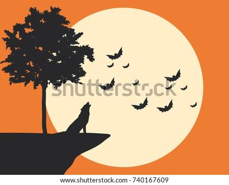 vector halloween poster wolf