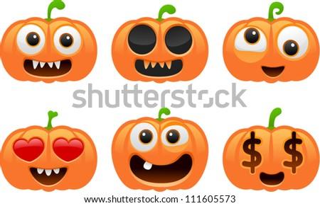 vector halloween pumpkin set 1