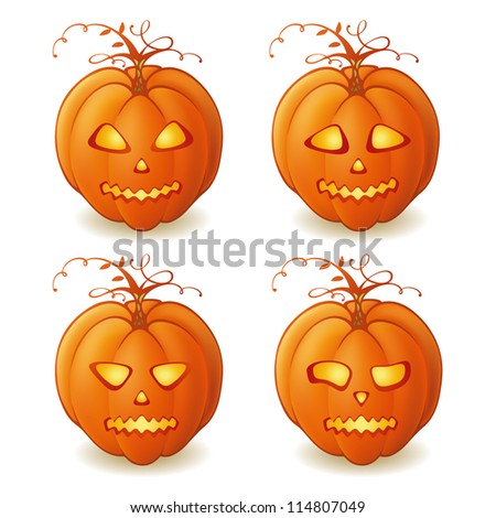 Vector Halloween pumpkins with different facial expressions