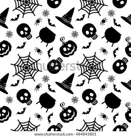 Vector Halloween seamless pattern. Black icons of skull, spider, web, pumpkins, cauldron. Design elements for halloween party poster. Flat cartoon illustration. Objects isolated on a white background.