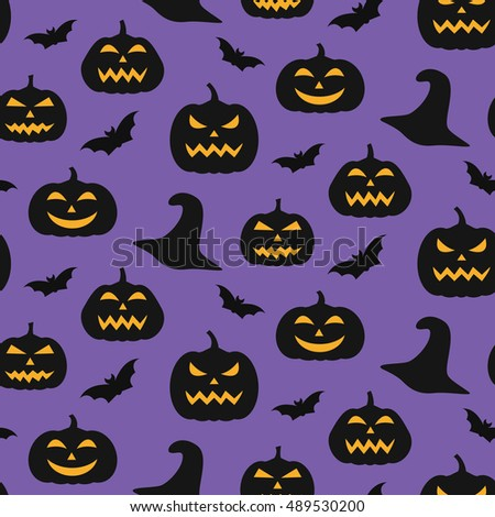 Vector Halloween seamless pattern. Design elements for party poster  invitation card. Vector illustration