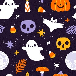 Vector Halloween seamless pattern with  ghost, bat, skull, full moon, jack o lantern, candle and amanita mushroom. Cute holiday repeated texture. Childish hand drawn background with cartoon characters