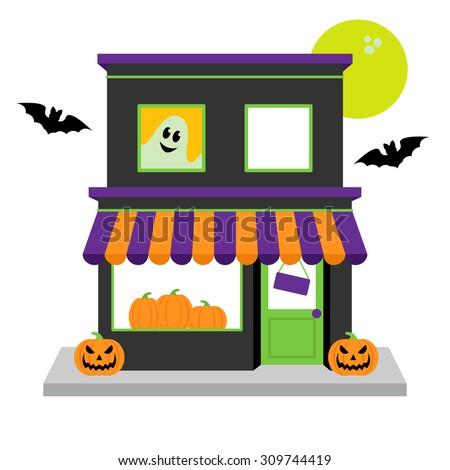 vector halloween shop with