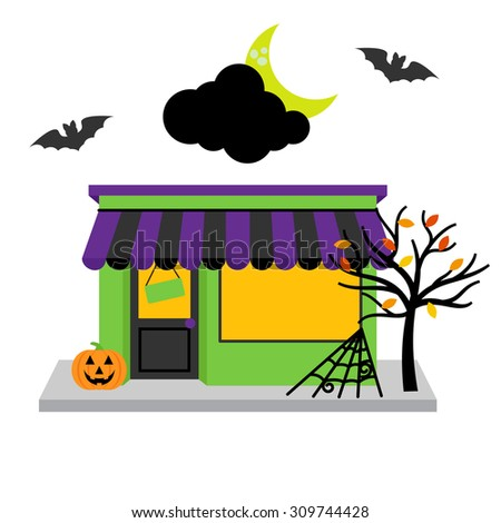 vector halloween shop with