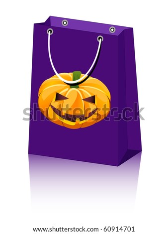 vector Halloween shopping bag with jack-o-lantern pumpkin
