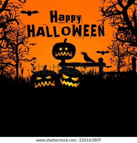 vector halloween spooky yard