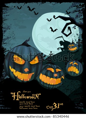 Vector Halloween Template With Night Landscape, Evil Pumpkins