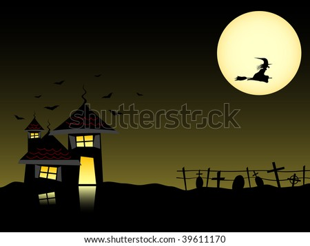 Vector. Halloween theme with dark house full moon and witch.