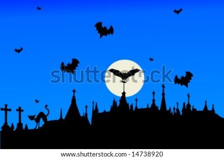 Vector. Halloween theme with graveyard, full moon and bats.